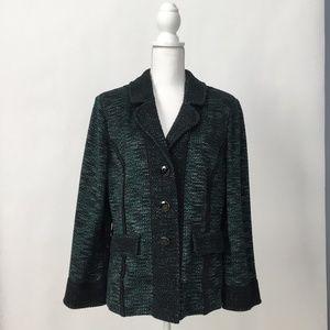ST. JOHN Tweed Knit Jacket Blazer w/ Notch-Collar